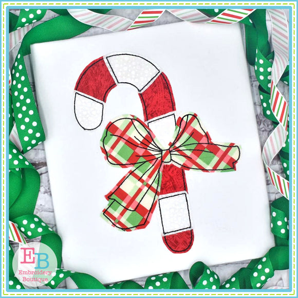Candy Cane Big Bow No Tag Bean Applique, Applique