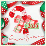Candy Cane Big Bow Bean Applique