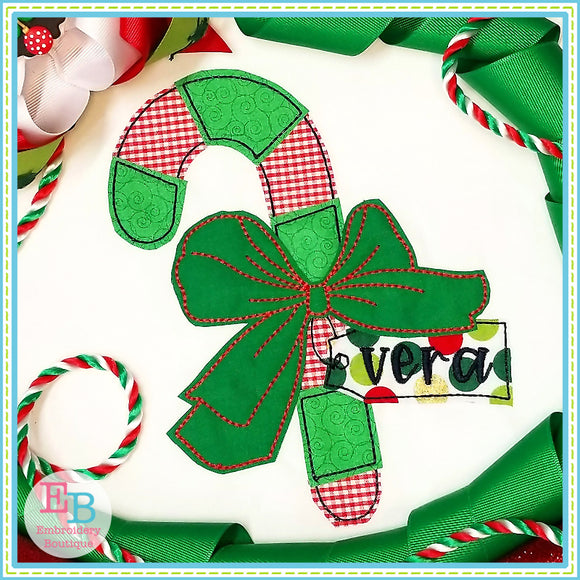 Candy Cane Big Bow Bean Applique, Applique