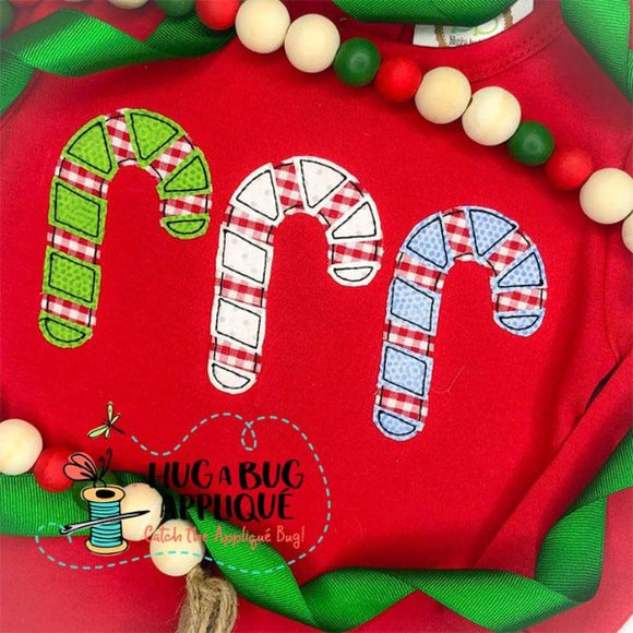 Candy Cane Trio Bean Stitch Applique Design, Applique