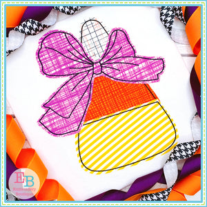 Candy Corn Big Bow Bean Stitch Applique, Applique