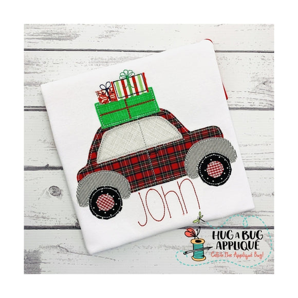 Christmas Gifts Car Bean Stitch Applique Design, Applique