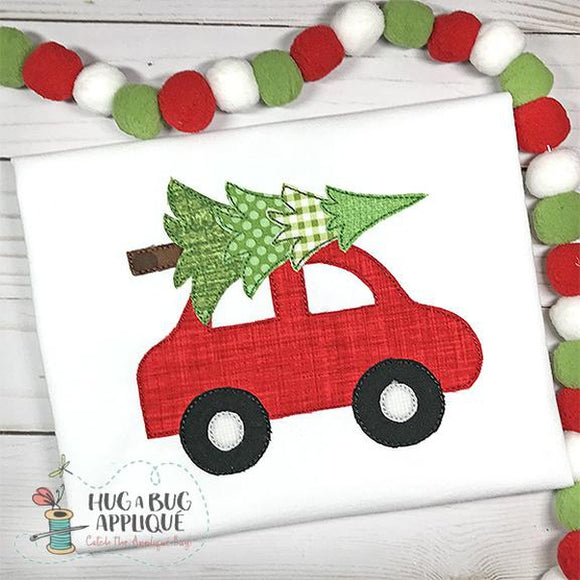 Car Tree Bean Stitch Applique Design, Applique