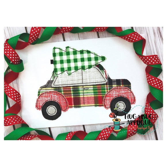 Christmas Tree Car Bean Stitch Applique Design, Applique