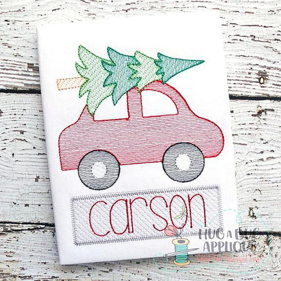 Car Tree Sketch Stitch Embroidery Design, Embroidery