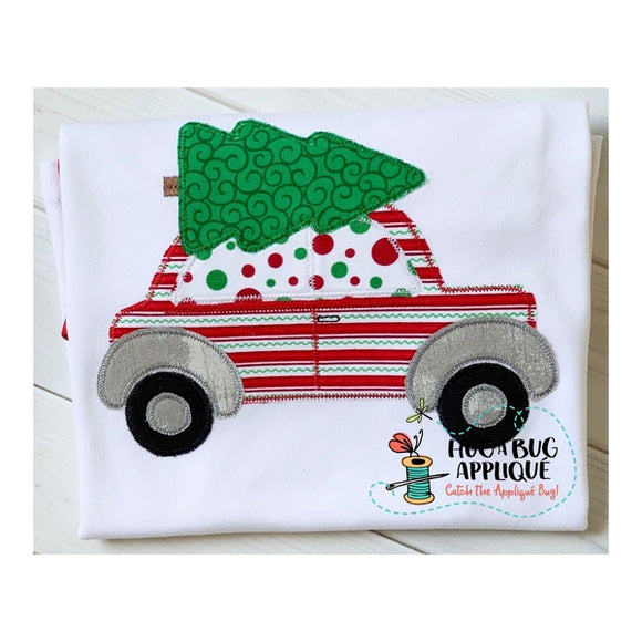 Christmas Tree Car Zig Zag Stitch Applique Design, Applique