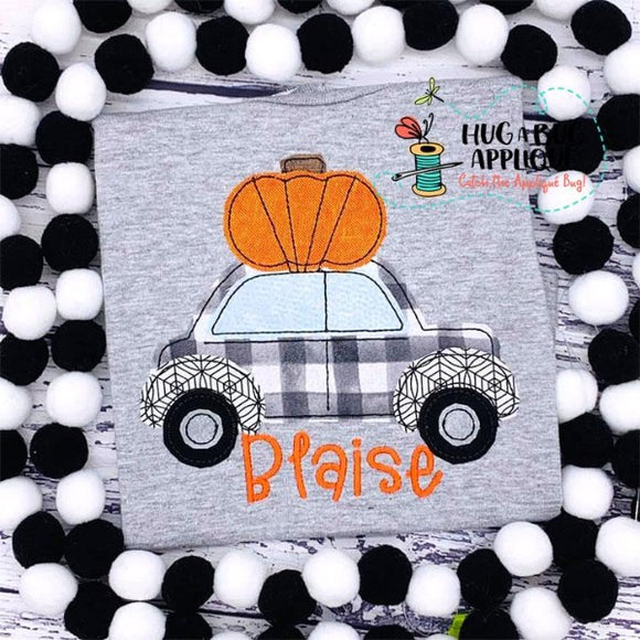 Car Pumpkin Bean Stitch Applique Design, Applique