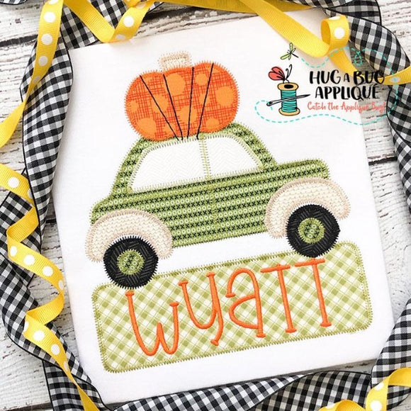 Car Pumpkin  Zig Zag Stitch Applique Design, Applique