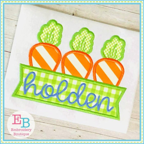 Carrot Banner Satin Applique