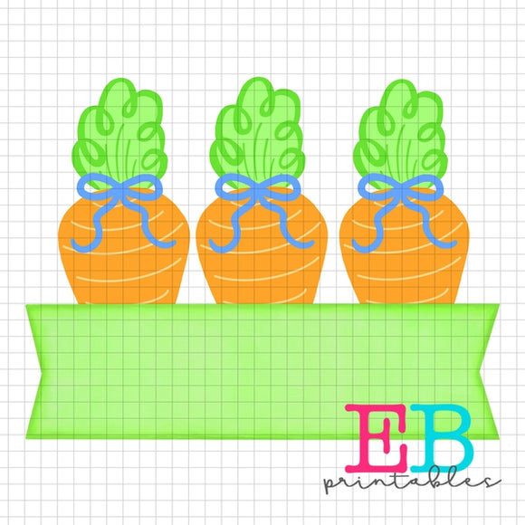 Carrot Bows Banner Sublimation Printable Design PNG