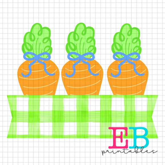 Carrot Bows Gingham Banner Sublimation Printable Design PNG