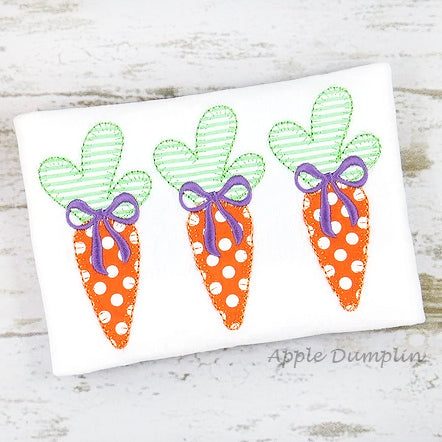 Carrots with Bow Trio, Blanket Stitch, Applique Design, applique