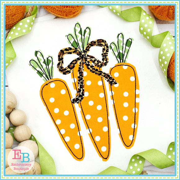 Carrots Trio Bow Bean Stitch Applique, Applique