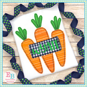 Carrots Trio Tag Bean Stitch Applique, Applique