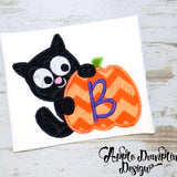 Cat with Pumpkin Applique Design, applique