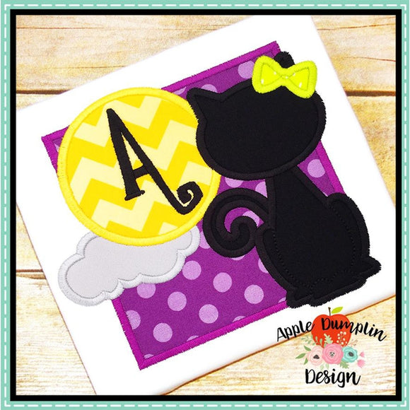 Cat with Moon Girl Applique Design