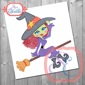 Witch On A Broom Embroidery Design, Embroidery