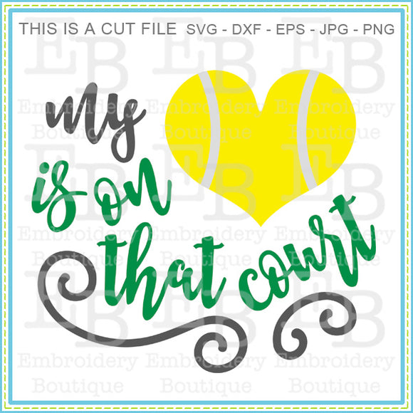 Heart on the Court Tennis SVG - embroidery-boutique