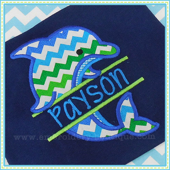 Split Dolphin Applique - embroidery-boutique