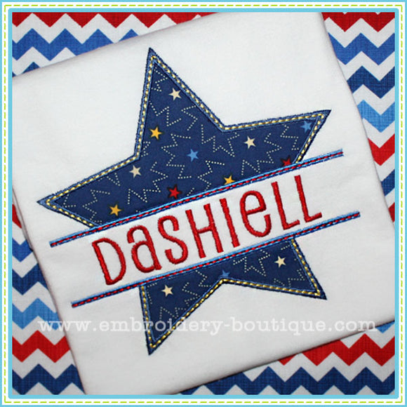 Split Single Star Applique - embroidery-boutique