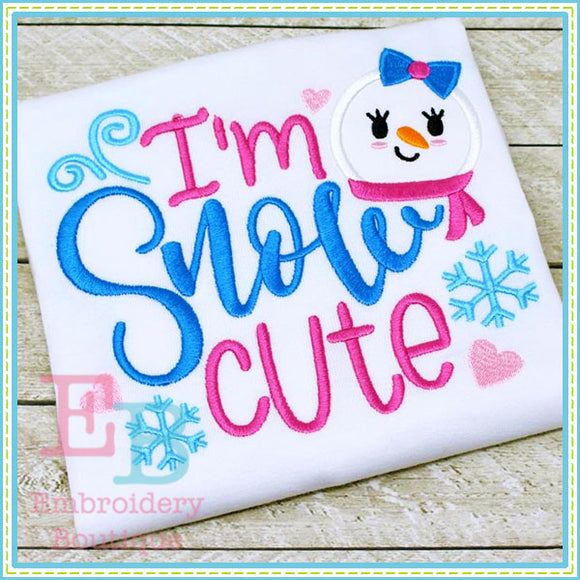 Snow Cute Applique, Applique