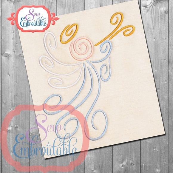 Swirl Angel Embroidery Design, Embroidery