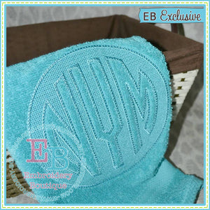 Embossed Circle Monogram Embroidery Font, Embroidery Font