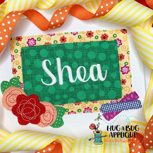 Chalkboard Flowers Bean Stitch Applique Design, Applique