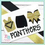 Cheer Uniform Trio Zigzag Applique, Applique