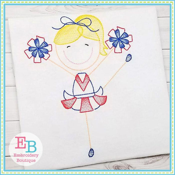 Cheerleader 3 Sketch Design - embroidery-boutique