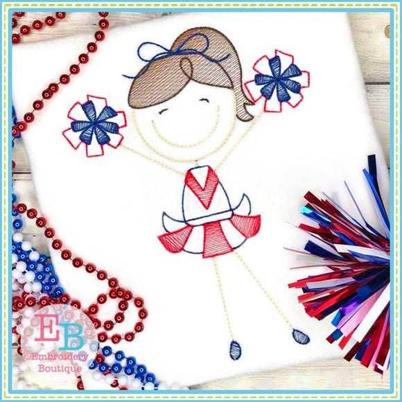 Cheerleader 5 Sketch Design - embroidery-boutique