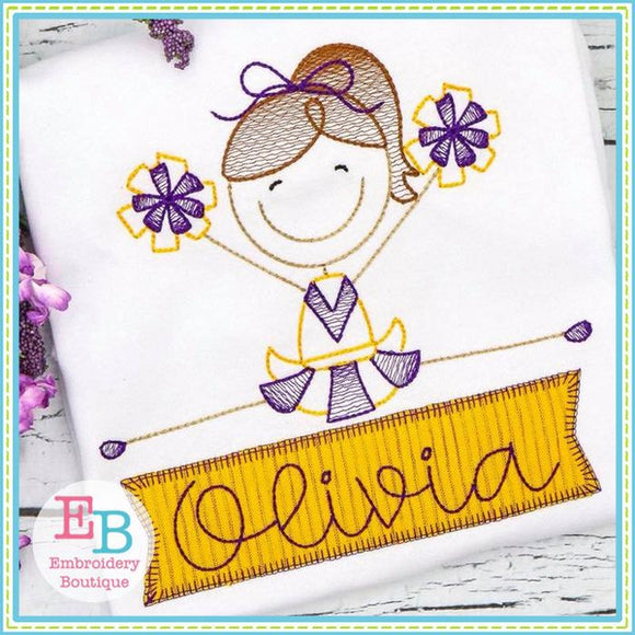 Cheerleader 1 Sketch Design - embroidery-boutique