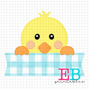 Boy Chick Gingham Banner Printable Sublimation Design PNG
