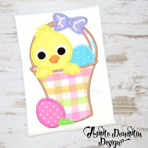 Chick in Easter Basket Applique Design, applique