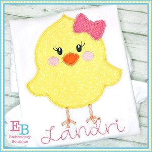 Little Chick Girl Zigzag Applique