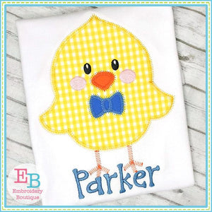 Little Chick Boy Zigzag Applique