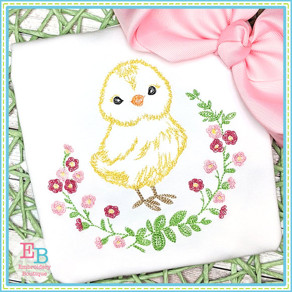 Chick Watercolor Embroidery Design