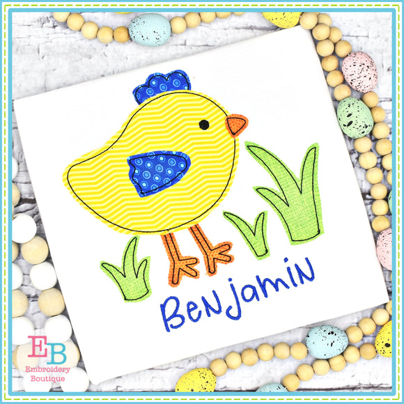 Chick Grass Bean Stitch Applique, Applique