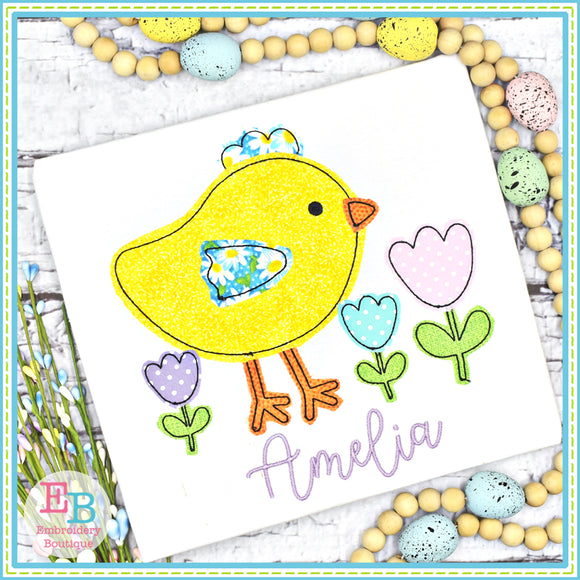 Chick Tulips Bean Stitch Applique, Applique