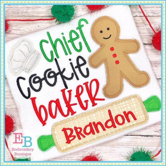 Chief Cookie Baker Zigzag Applique, Applique