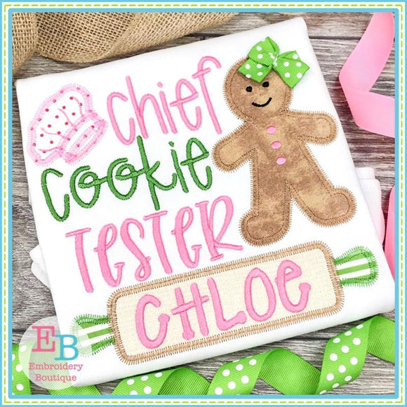 Chief Cookie Tester ZigZag Applique, Applique