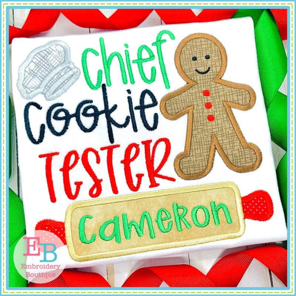 Chief Cookie Tester Applique, Applique