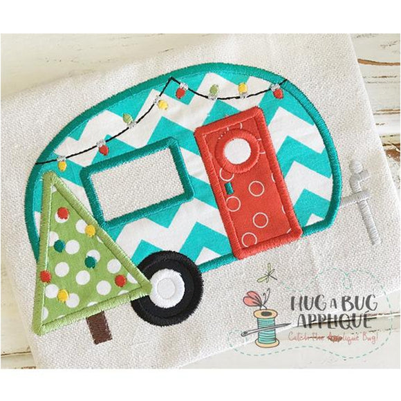 Camper Christmas Applique Design, Applique