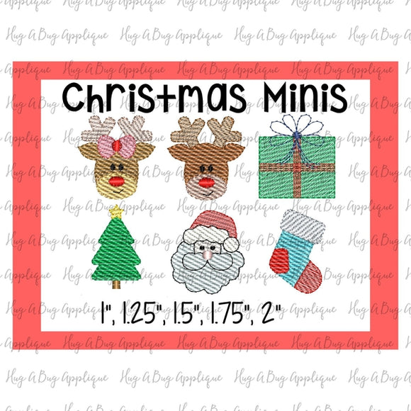 Christmas Minis Set Sketch Embroidery Designs, Embroidery