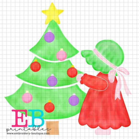 Bonnet Christmas Girl Printable Design PNG, Printable