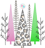 Christmas Trees Cheetah Embroidery Design, Embroidery