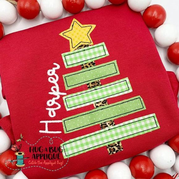 Christmas Tree Simple Bean Stitch Applique Design, Applique
