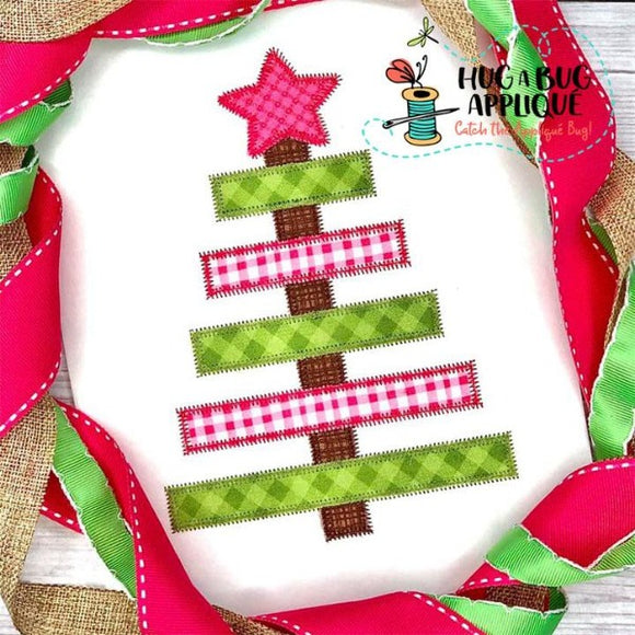 Christmas Tree Simple Zig Zag Stitch Applique Design, Applique