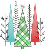 Christmas Trees Plaid Sketch Embroidery Design, Embroidery