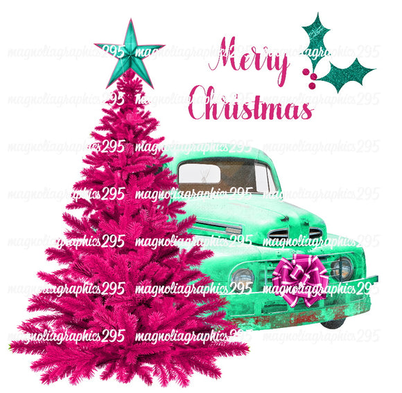Merry Christmas Truck Printable Design PNG-Embroidery Boutique
